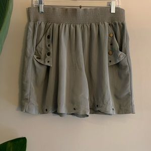 High Waist Culotte Shorts Green Tap Pants medium